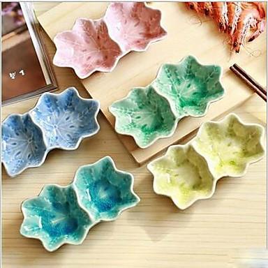 ahorn blad kuplet krop dobbelt kælvning keramisk smag parabol (tilfældig farve)