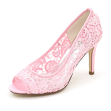 8caec795cb Mulheres Cetim Primavera   Verão Plataforma Básica Sapatos De Casamento  Salto Agulha Peep Toe Preto   Rosa claro   Ivory   Festas   Noite