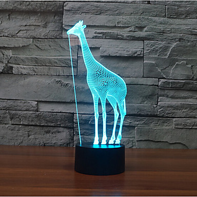 giraf touch dimming 3d ledet nat lys 7colorful dekoration atmosfære lampe nyhed belysning lys
