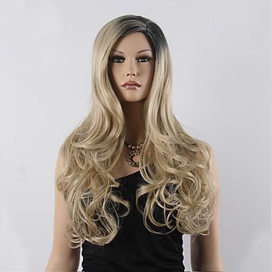 Syntetiske parykker Bølget Massefylde Lågløs Dame Blond Carnival Paryk Halloween Paryk Naturlig paryk Lang Syntetisk hår