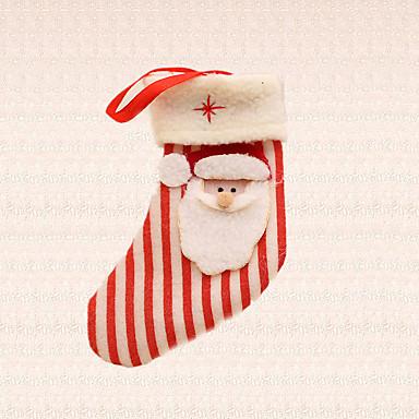 1pc Weihnachtsbaumdekoration Streifen Weihnachtsmann Socke Anhänger nach Hause Festival Partei liefert