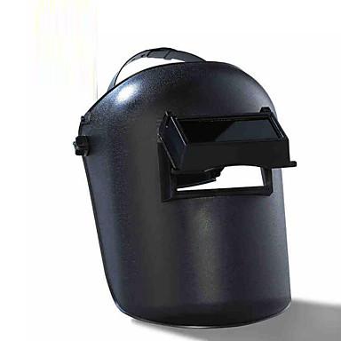hoved iført typen elektrisk svejsning maske