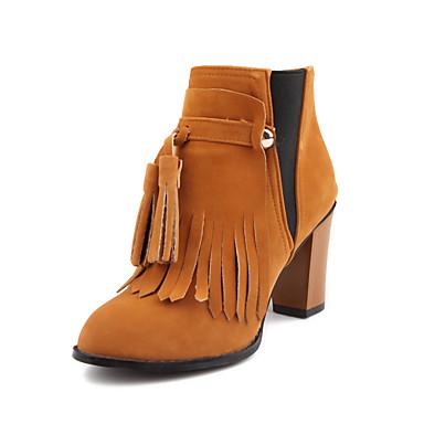 Feminino Sapatos Flanelado Outono Inverno Curta/Ankle Botas da Moda Botas Salto Robusto Botas Curtas / Ankle Miçangas Mocassim Para