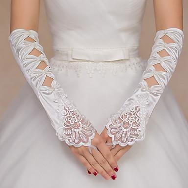 Polyester Elastischer Satin Opernlänge Handschuh Brauthandschuhe Party / Abendhandschuhe With Strass Perle