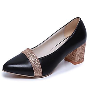 Dame-PU-Flat hæl-Komfort-Høye hæler-Fritid-Svart Sølv Gull
