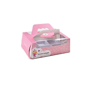 verpakking& verzending roze (cake personen) snack doos een pak van zes