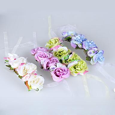 Bouquets de Noiva Atado à Mão Rosas Buquê de Pulso Casamento Poliéster Tule Renda 2.76