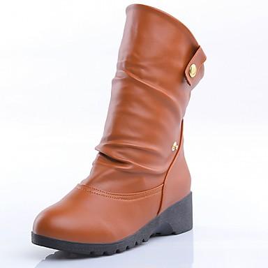 Hæle-Syntetisk laklæder Kunstlæder-Cowboystøvler Ridestøvler Modestøvler-Dame-Sort Gul Mandel-Bryllup Kontor Formelt Fritid Fest/aften-