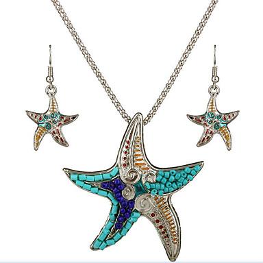 Damen Schmuck-Set Schmuckset, Halskette / Ohrringe - Sterling Silber Silber, Grün / Halsketten