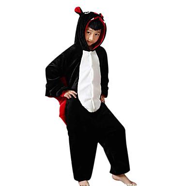 Pijama Kigurumi Băţ Pijama Întreagă Costume Flanel Lână Negru Cosplay Pentru Sleepwear Pentru Animale Desen animat Halloween Festival /