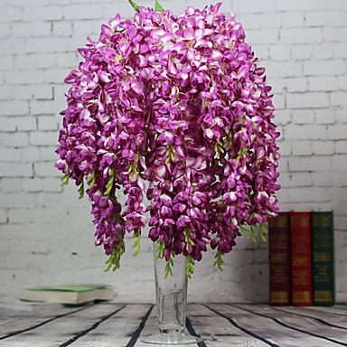 1 1 Ast Polyester / Kunststoff Lila Boden-Blumen Künstliche Blumen 25.5inch/65cm