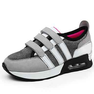 Dame Flate sko Komfort Tekstil Vår Høst Avslappet Gange Komfort Flat hæl Svart Grå Rød Flat