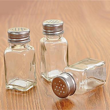 glas enkelt krydderi flaske gennemsigtig krydderflaske med perforeret låg