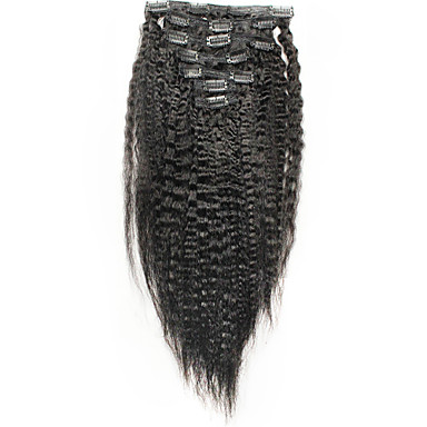 итальянский грубый яки клип в расширениях человеческих волос Kinky прямая 6А бразильские волосы прямые 100% человеческих волос