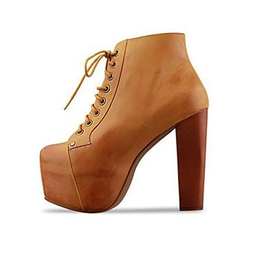 Hæle-Læder-Ankelstøvler-Dame-Sort Brun Mandel-Fritid-Tyk hæl