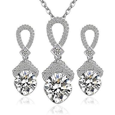 Dames Sterling zilver / Zirkonia Schattig Sieraden set Oorbellen / Kettingen - Feest / Werk / Informeel Wit Ketting / Oorbellen Voor
