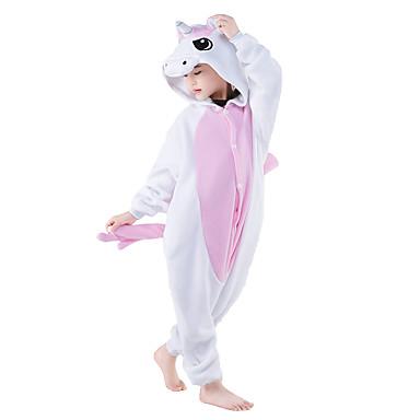 Niños Pijamas Kigurumi Unicorn Pijamas de una pieza Vellón de Coral Azul / Rosa Cosplay por Niños y niñas Ropa de Noche de los Animales Dibujos animados Festival / Celebración Disfraces