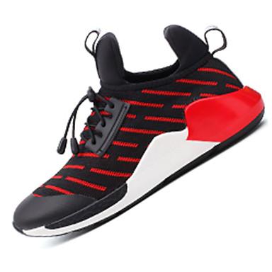 Feminino-TênisRasteiro-Azul Vermelho Branco-Couro Ecológico Tule-Para Esporte