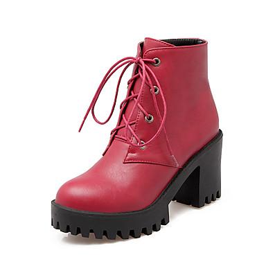 Støvler-Kunstlæder-Plateau Modestøvler-Dame-Sort Rød Grå-Udendørs Kontor Fritid-Tyk hæl Platå