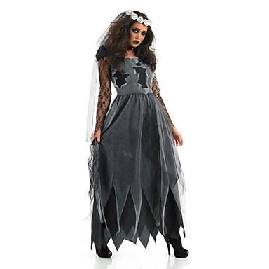 Cosplay-Asut Juhla-asu Aave Zombie Festivaali/loma Halloween-asut Musta+Harmaa Vintage Leninki Päähine Halloween Karnevaali Oktoberfest