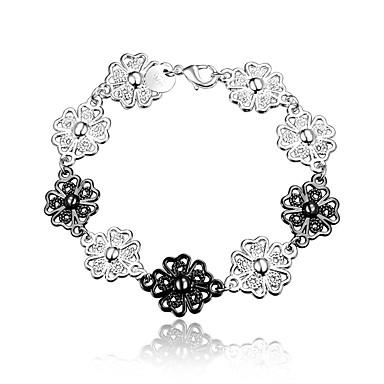 Dame Kæde & Lænkearmbånd Vintage Mode Sølv Sølv/Sort Blomst Smykker Bryllup Fest Daglig Afslappet Kostume smykker