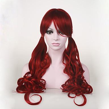 Synthetische Perücken Wellen Kappenlos Damen Rot Cosplay Perücke
