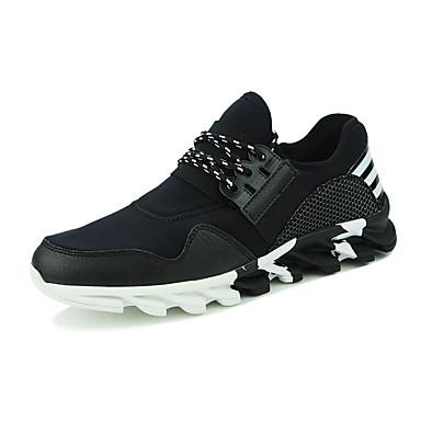 Sneakers-PU-Komfort-Herre-Sort Hvid Sølv-Fritid Sport-Platå