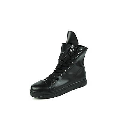 Støvler-Kunstlæder-Modestøvler-Herre-Sort Hvid Sort og Hvid-Udendørs Fritid Sport-Flad hæl
