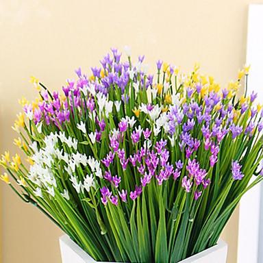 1 Ramo Poliéster Plástico Plantas Flor de Mesa Flores artificiais