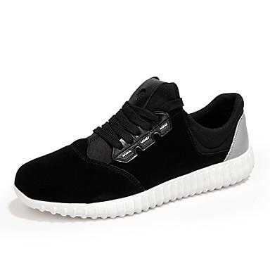 Heren Sneakers Lente Herfst Suède Casual Sport Platte hak Veters Overige Zwart Grijs Fitness & Crosstraining