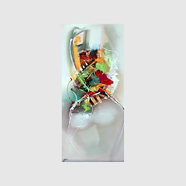 Pintados à mão Abstracto / Pessoas / Transparente Pinturas a óleo,Modern 1 Painel Tela Hang-painted pintura a óleo For Decoração para casa