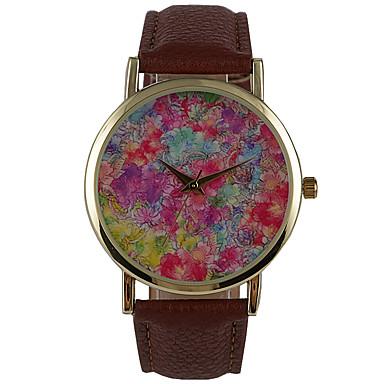 Mulheres Relógio Elegante Relógio de Moda Quartzo Impermeável PU Banda Flor Casual Marrom