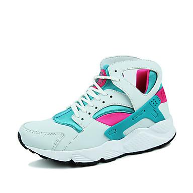 Sneakers-Stof Mikrofiber-Komfort-Dame-Blå Hvid Sort og Hvid-Udendørs Fritid Sport-Flad hæl