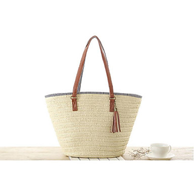 cheap Going to the beach-Women's Tote Straw Bag Straw Beige / Army Green / Light Brown