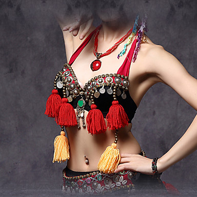 Buikdans Kleding Bovenlichaam Dames Prestatie Katoen Polyester Metaal Kralen Munten 1 Stuk Mouwloos Laag Beha