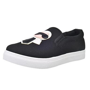 Loafers og Slip-ons-Kanvas-Komfort-Dame-Sort Blå Hvid-Udendørs Sport-Flad hæl