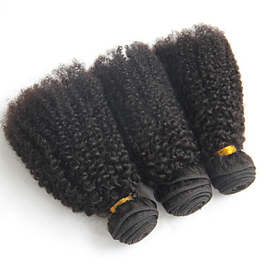 3 paquetes Cabello Brasileño Afro / Kinky Curly Cabello Virgen Tejidos Humanos Cabello 8-20 pulgada Cabello humano teje Extensiones de cabello humano / Kinky rizado