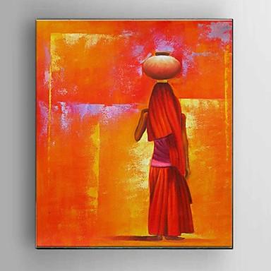 Hånd-malede Abstrakt / Mennesker / Still Life / Abstrakt Portræt Oliemalerier,Moderne / Europæisk Stil Et Panel CanvasHang-Painted
