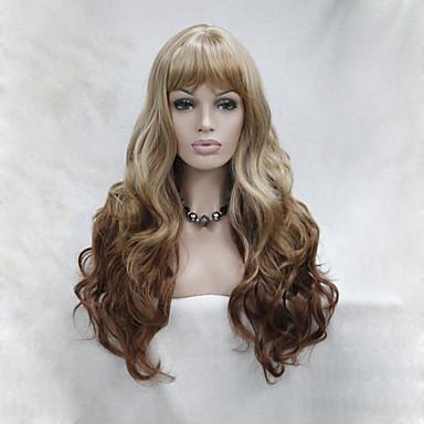 Synthetisch haar Pruiken Gekruld Ombre-haar Met pony Zonder kap Capless Pruiken Blond