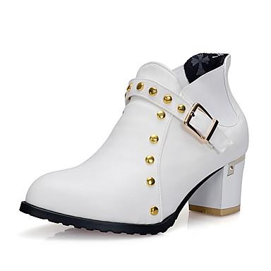 Bootsit-Leveä korko-Naisten-Tekonahka-Musta Sininen Valkoinen Khaki-Ulkoilu Toimisto Rento-Saappaat