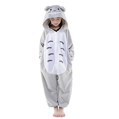 Kigurumi-Pyjamas Totoro / Katze Pyjamas-Einteiler Kostüm Polar-Fleece Grau Cosplay Für Kinder Tiernachtwäsche Karikatur Halloween Fest /