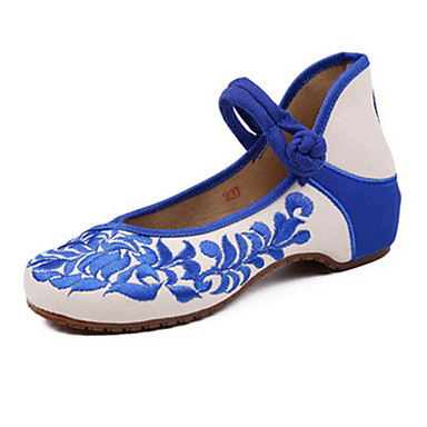Damen Schuhe Leinwand Frühling Sommer Herbst Bestickte Schuhe Mary Jane Komfort Flache Schuhe Walking Flacher Absatz Schnalle Blume für