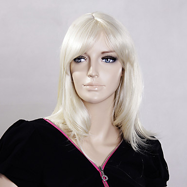Mulher Perucas sintéticas Sem Touca Curto Liso Loira preto peruca Perucas para Fantasia