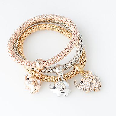 Dames Armbanden met ketting en sluiting Modieus Legering Cirkelvorm Zilver Gouden Goud Rose Sieraden Voor Bruiloft 1 Set