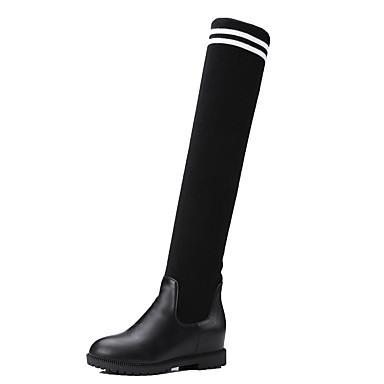 Støvler-Kunstlæder-Modestøvler-Dame-Sort-Formelt Fritid-Flad hæl