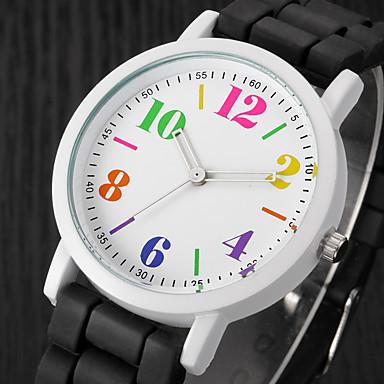 Dame Damer Armbåndsur Quartz Afslappet Ur Silikone Bånd Analog Vedhæng Afslappet Mode Sort / Hvid / Blåt - Sort / Hvid Regnbue Lys Grøn