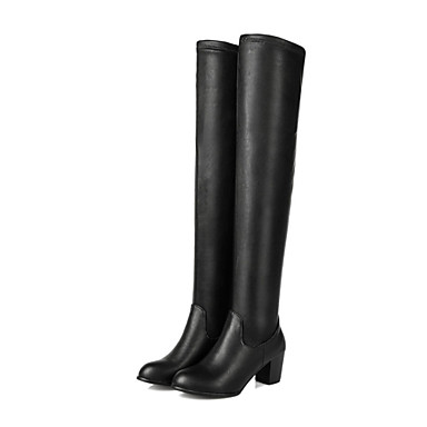 Bootsit-Leveä korko-Naisten-Elastinen satiini Tekonahka-Musta-Puku Rento