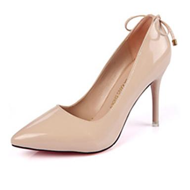 Mulheres Sapatos Couro Ecológico Outono Saltos Salto Agulha Laço Preto / Amêndoa / Cinza Claro / Casamento