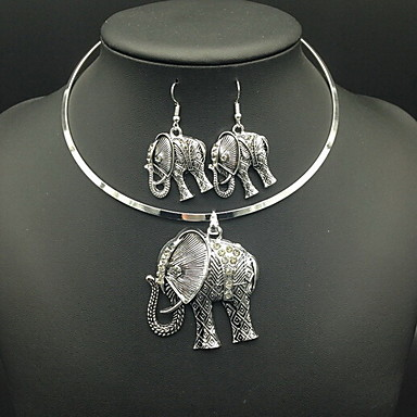 Damen Halskette / Ohrringe Diamantimitate Elefant Kreisform Tier Luxus Retro Alltag Normal Ohrringe Halsketten Modeschmuck