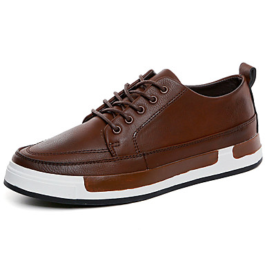 Sneakers-Læder-Komfort-Herre-Sort Brun-Udendørs Fritid Sport-Flad hæl